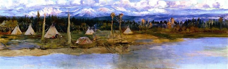 Kootenai Camp on Swan Lake (unfinished), 1926 - Charles M. Russell