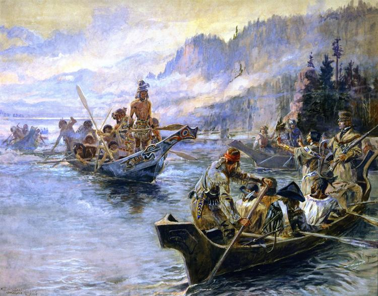 Lewis and Clark on the Lower Columbia, 1905 - Charles M. Russell