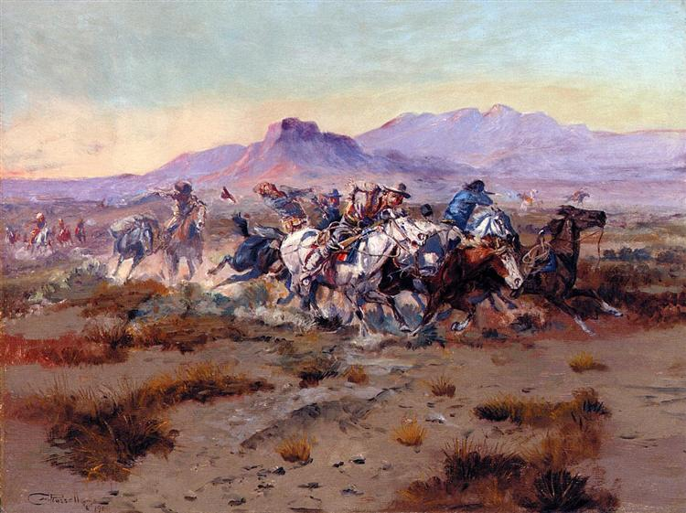 The Attack, 1900 - Charles M. Russell