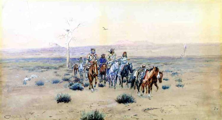 Trappers Crossing the Prarie, 1901 - Charles M. Russell