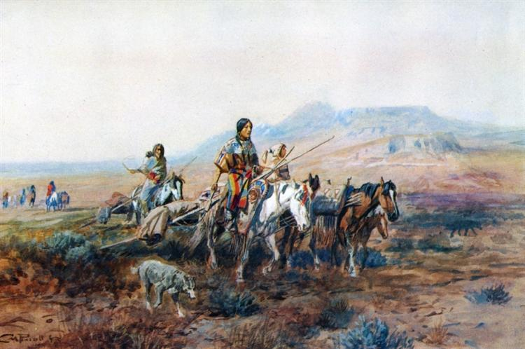 When the Trail Was Long Between Camps, 1901 - Charles M. Russell