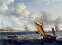 A Fishing Lugger and Customs Boat off a Coastal Town - Charles Martin Powell