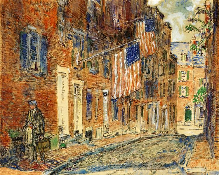 Acorn Street, Boston, 1919 - Childe Hassam