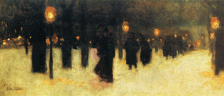 Across the Common on a Winter Evening, 1885 - Childe Hassam