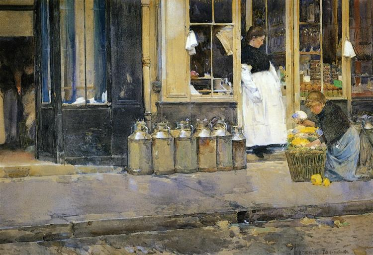 Flower Store and Dairy Store, 1888 - Childe Hassam
