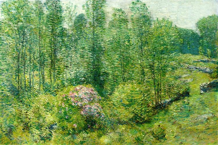 Spring Landscape with a Farmer and White Horse, 1906 - Childe Hassam