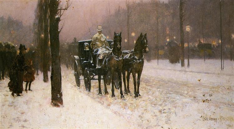 Street Scene with Hansom Cab, 1887 - Чайльд Гассам