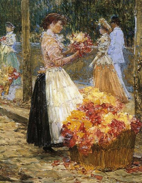 Woman Sellillng Flowers, 1888 - 1889 - Childe Hassam