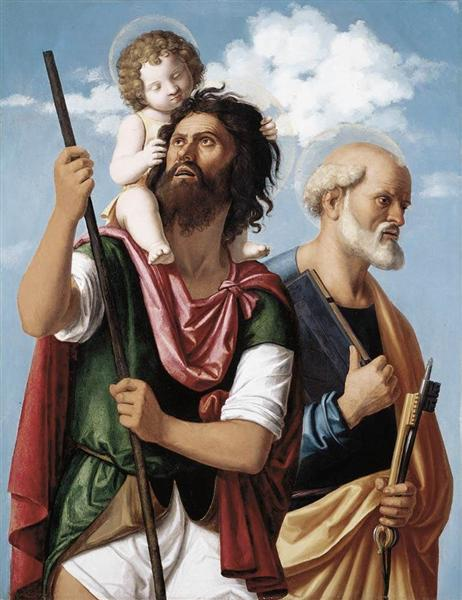 St. Christopher with the Infant Christ and St. Peter, c.1505 - Cima da Conegliano