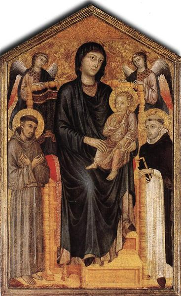 Madonna Enthroned with the Child, St. Francis, St. Domenico and two Angels - Cimabue