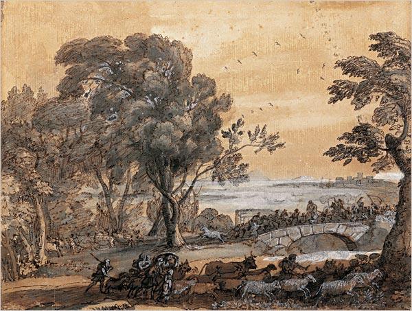 Coast scene with a battle on a bridge, c.1655 - Claude Lorrain