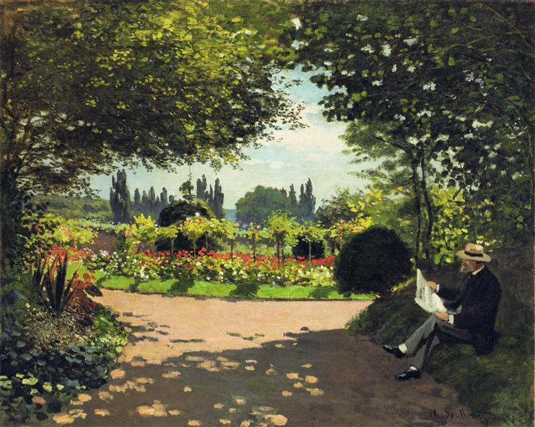 Adolphe Monet Reading in the Garden, 1866 - Claude Monet