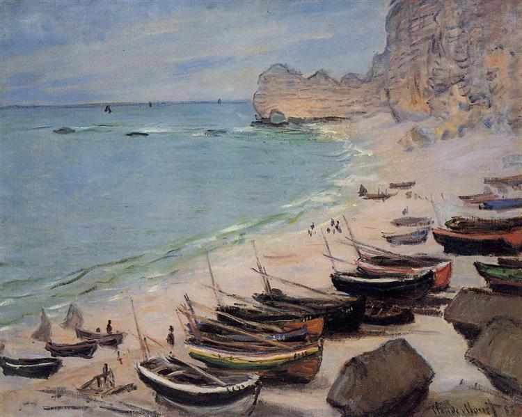 Boats on the Beach at Etretat, 1883 - Claude Monet