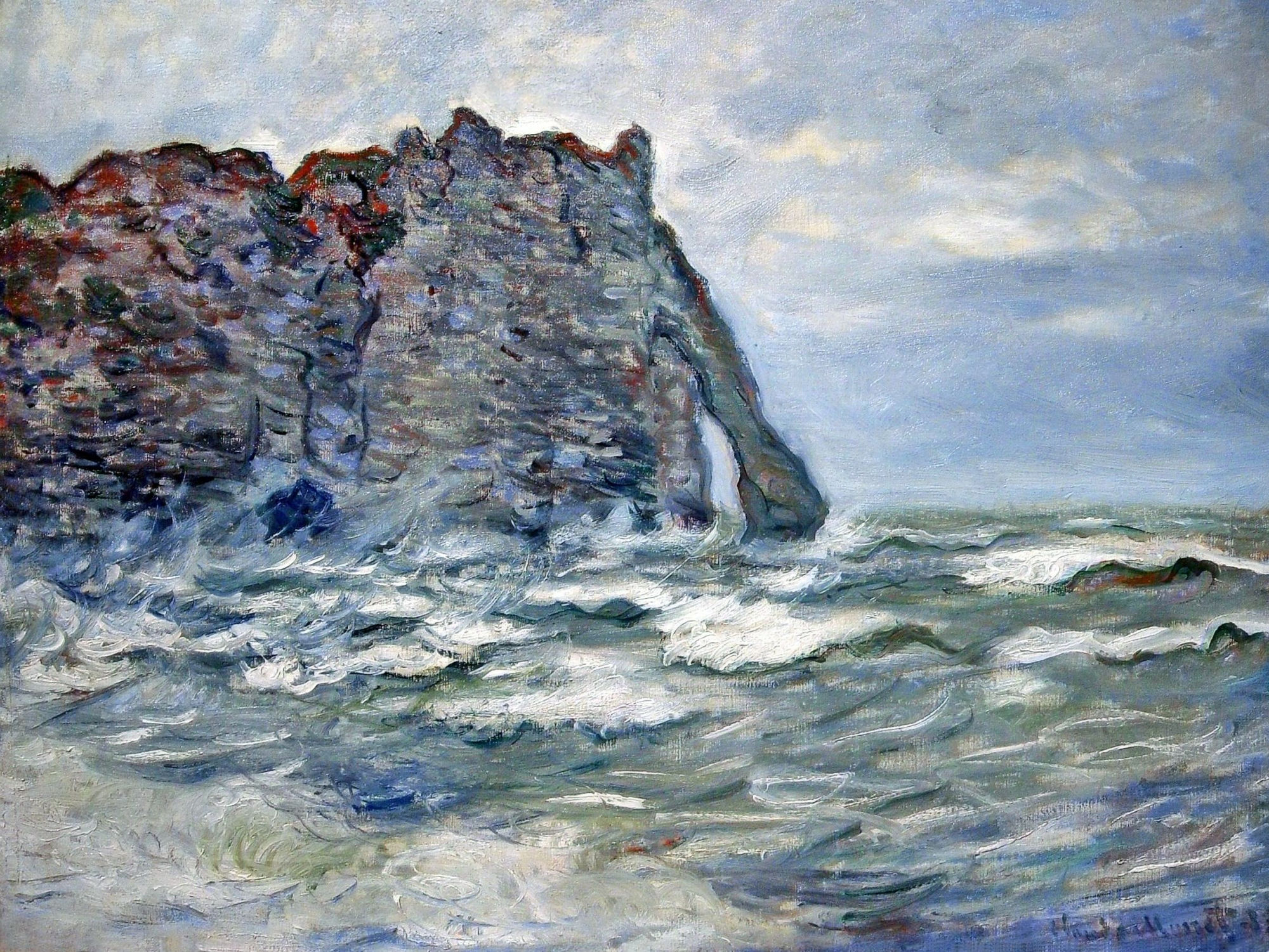 Etretat, Beached Boats and the Cliff of Aval, c 1892