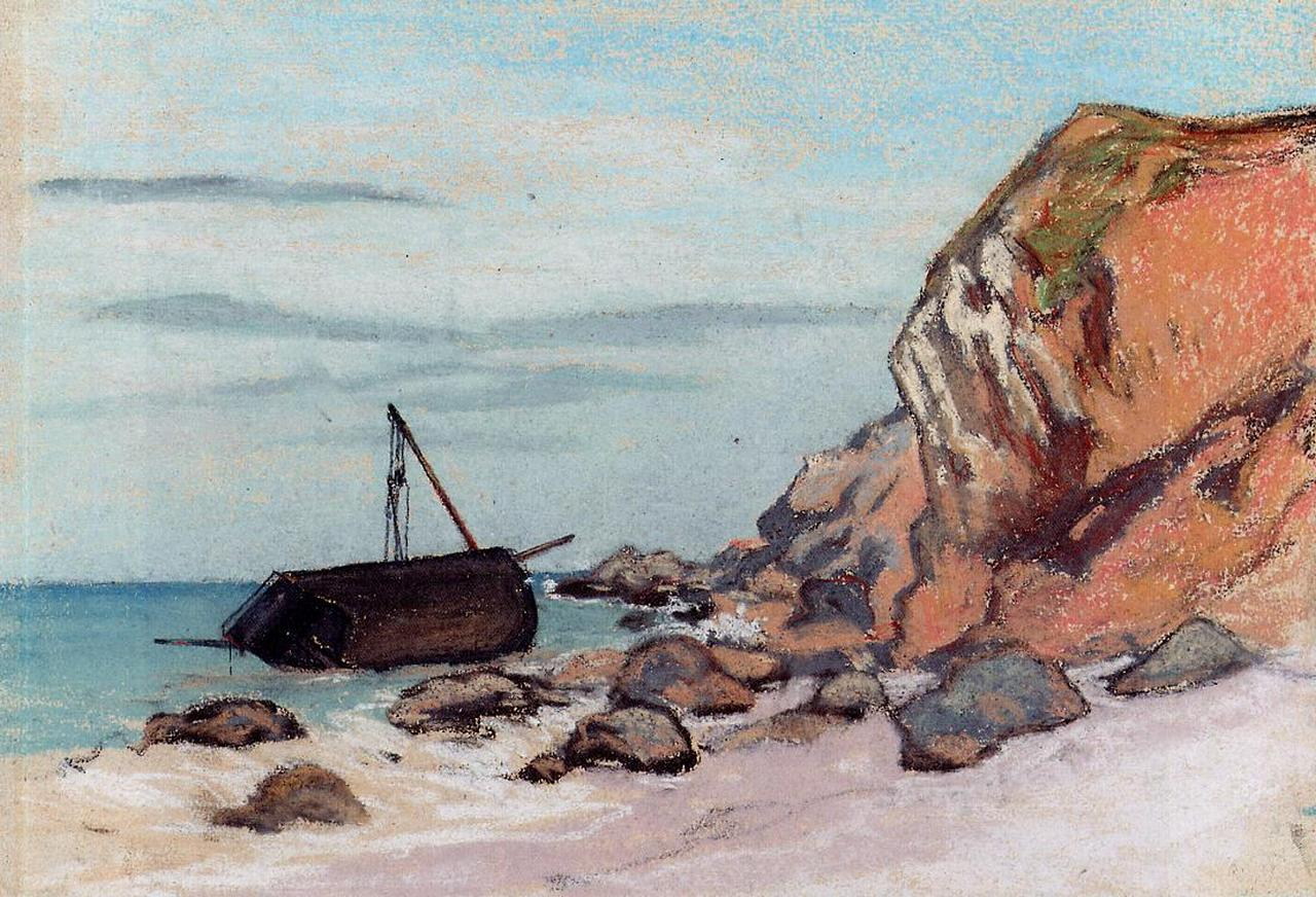 Saint-Adresse, Beached Sailboat, 1865