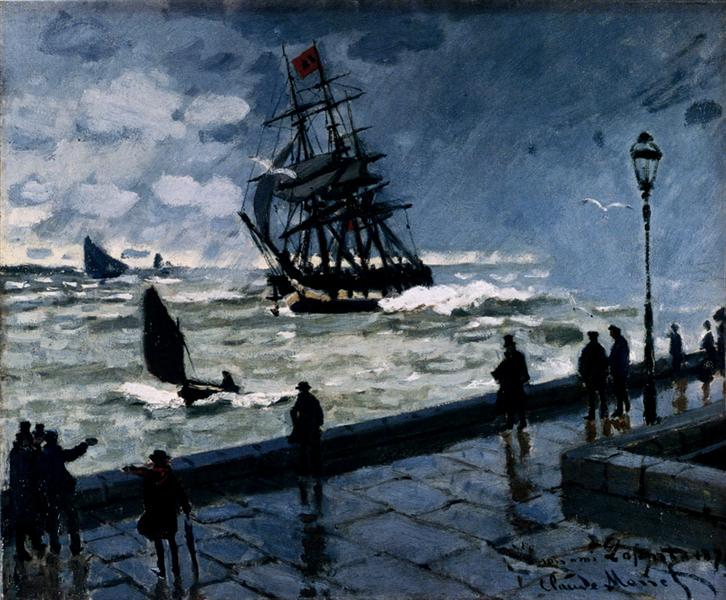 The Jetty at Le Havre, Bad Weather, 1870 - Claude Monet