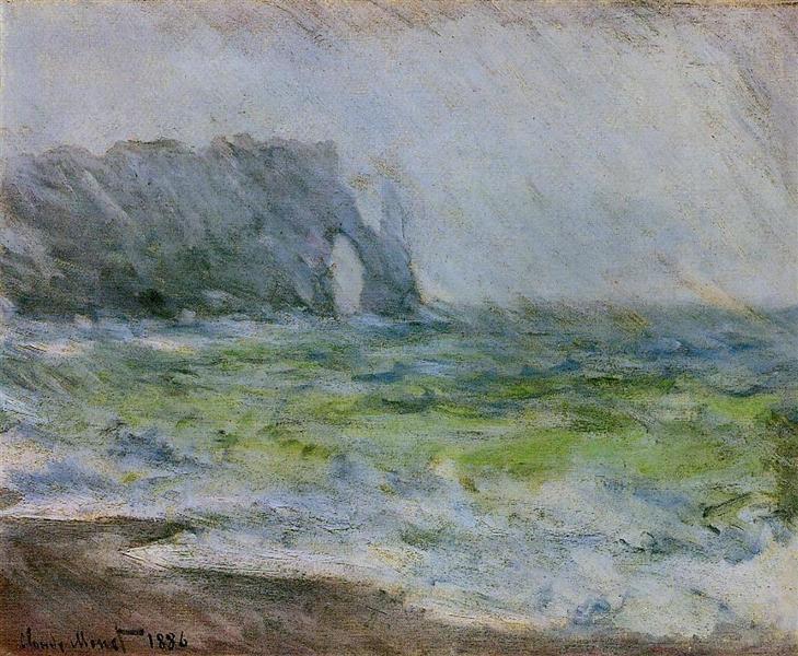 The Manneport, Etretat in the Rain, 1885 - 1886 - Claude Monet