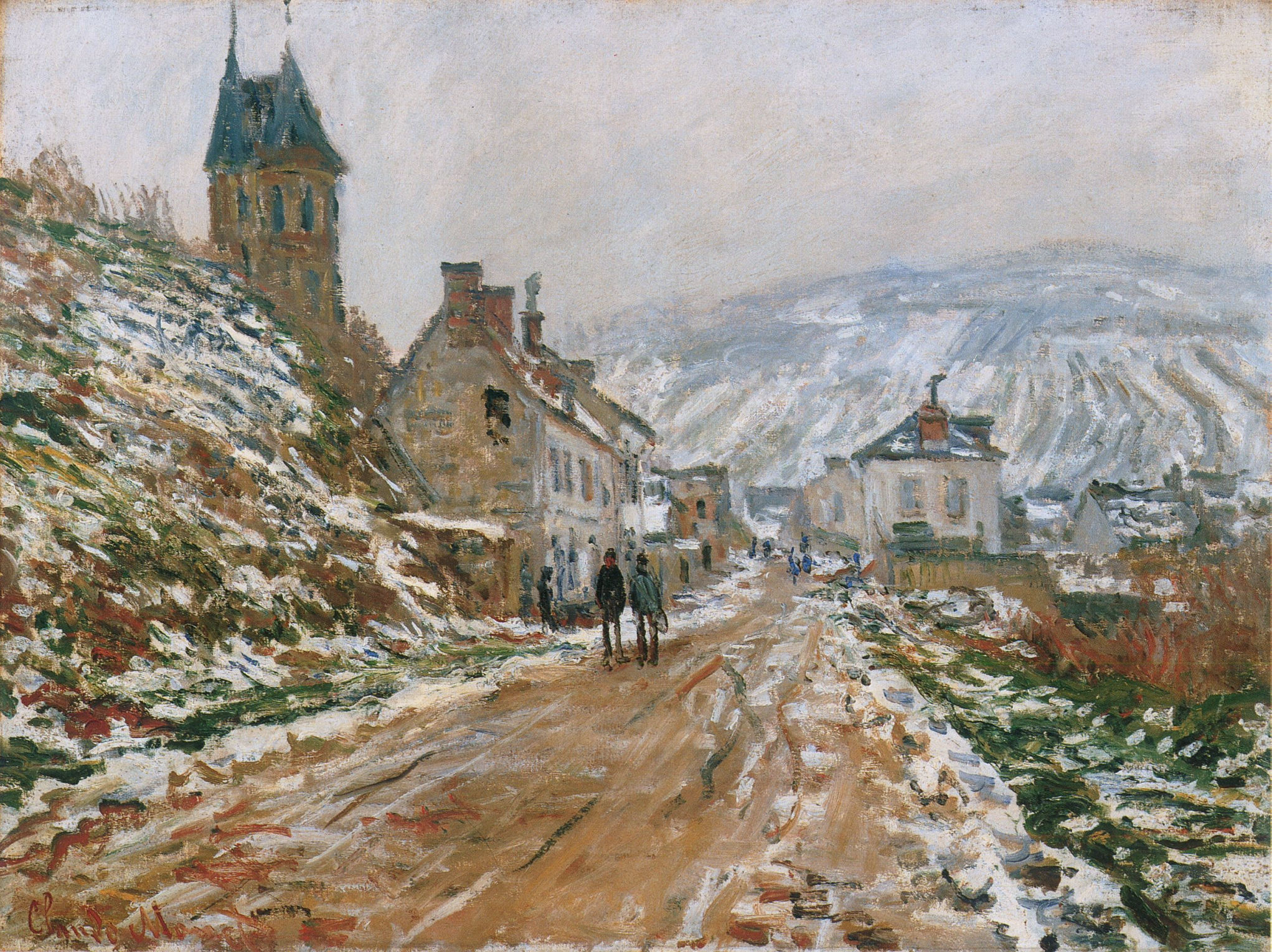 The Road In Vetheuil In Winter, 1879   Claude Monet