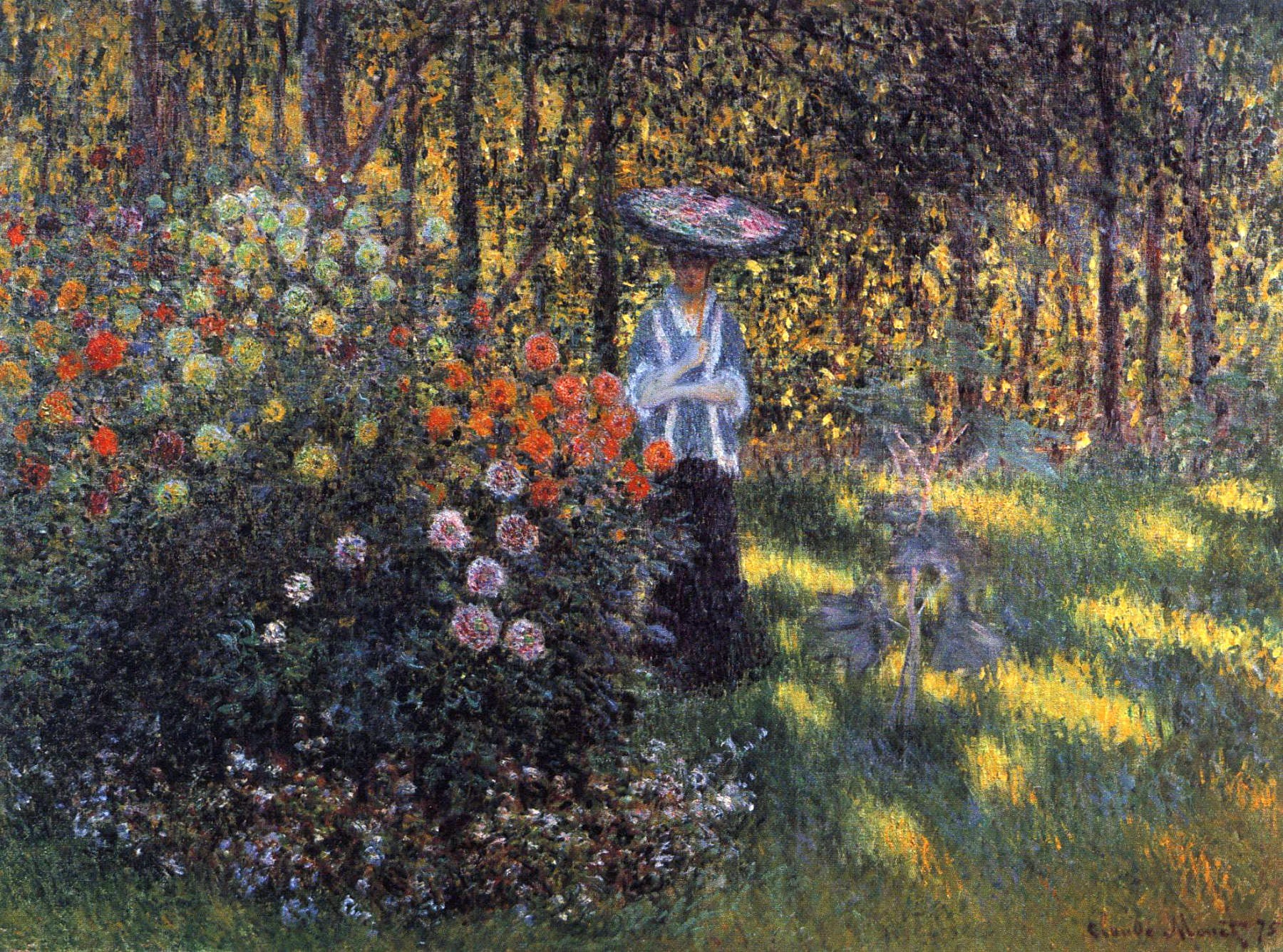 woman with a parasol in the garden in argenteuil 1875 claude monet. Black Bedroom Furniture Sets. Home Design Ideas