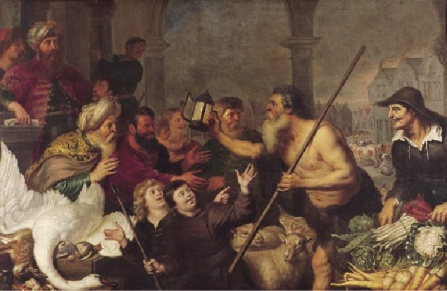 Diogenes searches for a man - Cornelis de Vos