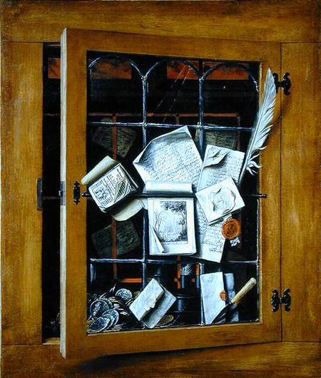 A trompe l'oeil of an open glazed cupboard door, with numerous papers and objects, 1666 - Cornelis Norbertus Gysbrechts