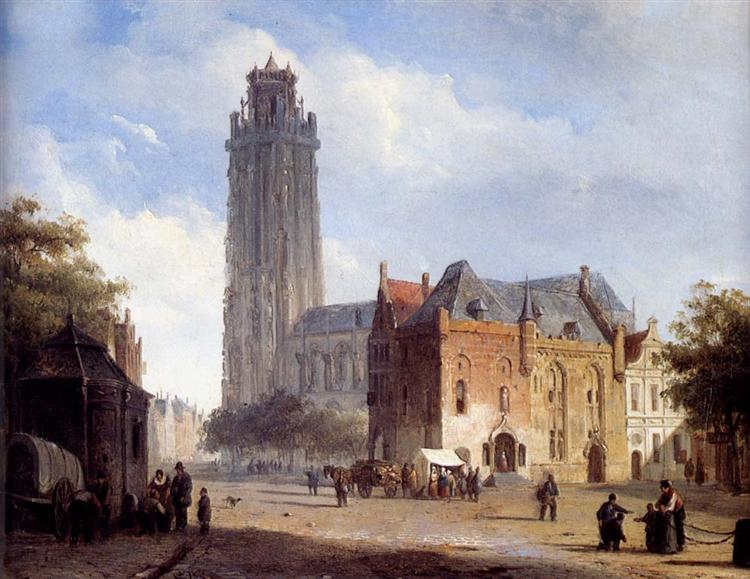 A Cathedral On A Townsquare In Summer, 1846 - Cornelis Springer