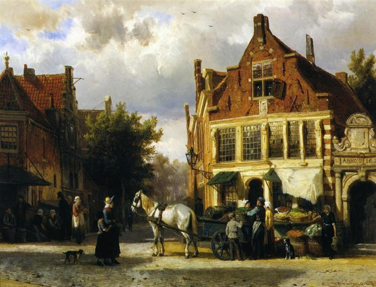 The Corner of Westerstraat and Tabakstraat in Enkhuizen, 1873 - Cornelius Springer