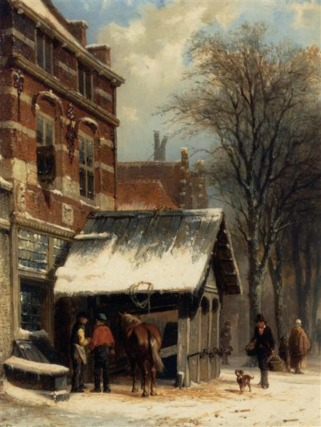 The Smithy of Culemborg in the Winter, 1860 - Cornelis Springer