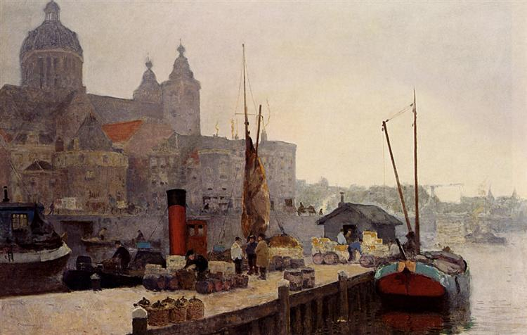 A View Of Amsterdam With The St. Nicolaas Church - Cornelis Vreedenburgh