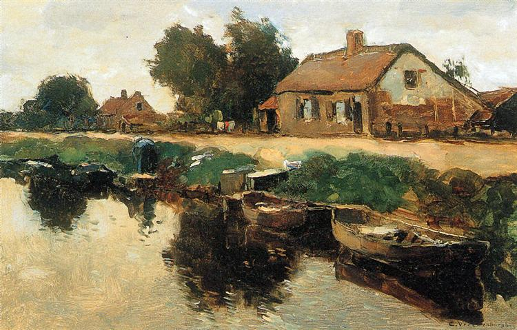 Farm Along The Canal - Cornelis Vreedenburgh