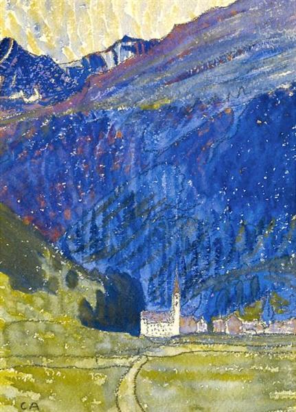 Dorf mit Kirche im Bergell, 1907 - Cuno Amiet