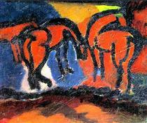 Horses - David Burliuk