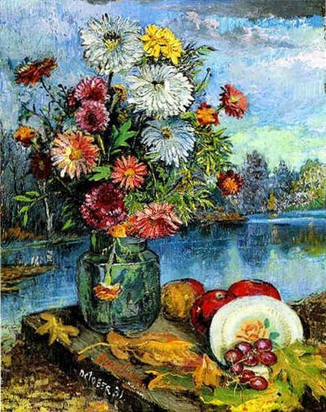 Натюрморт с тарелкой, 1931 - Давид Бурлюк