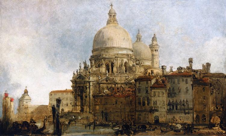 View of the Church of Santa Maria della Salute, on the Grand Canal, Venice, with the Dogana beyond, 1851 - David Roberts