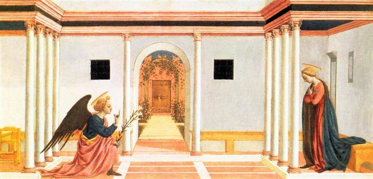 The Annunciation, predella panel from the St. Lucy Altarpiece - Domenico Veneziano