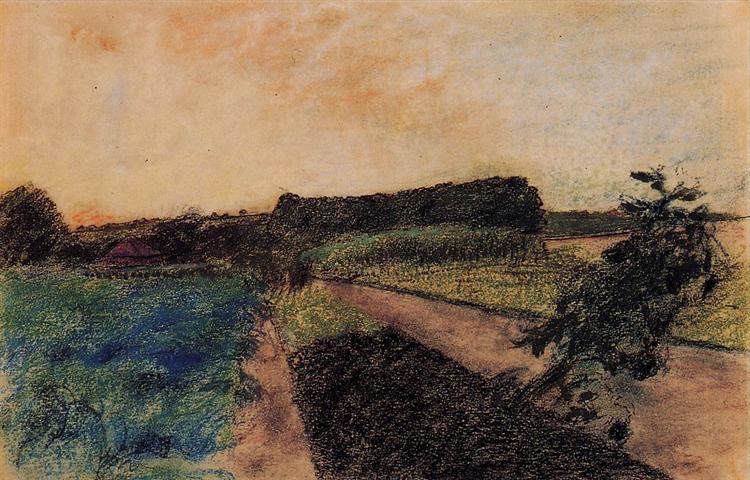 Landscape on the Orne, c.1884 - Edgar Degas