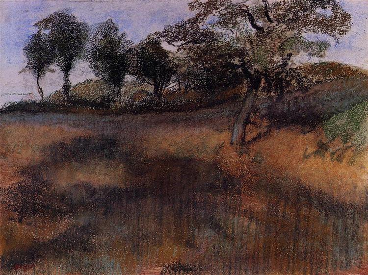 Plowed Field, c.1880 - c.1890 - Edgar Degas