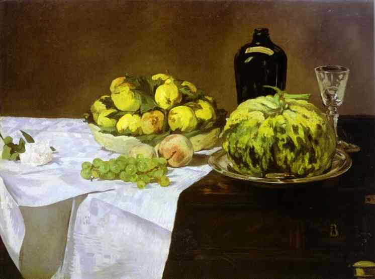 Still life with melon and peaches, 1866 - Edouard Manet