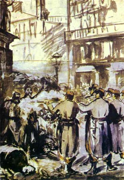 The Barricade (Civil War), 1871 - Edouard Manet