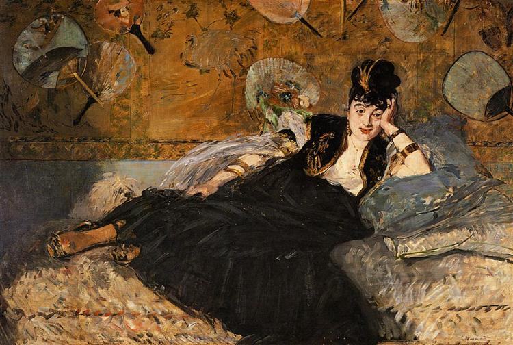 The Lady with Fans, Portrait of Nina de Callias, c.1874 - Edouard Manet