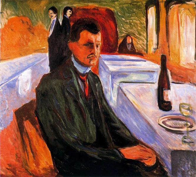 Self-portrait with bottle of wine, 1906 - Edvard Munch
