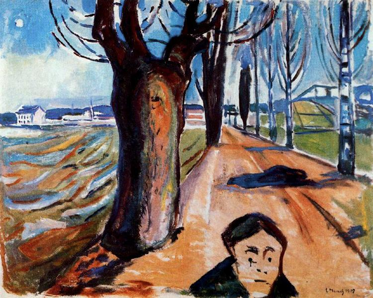 The Murderer in the Lane, 1919 - Edvard Munch
