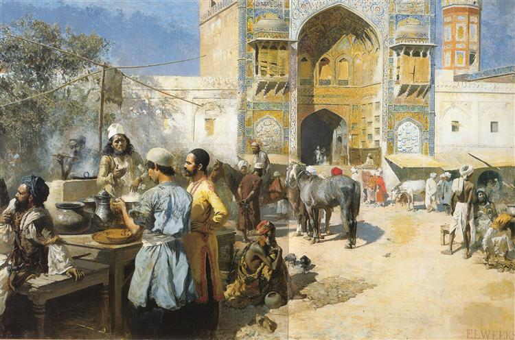 An Open Air Restaurant, Lahore, 1889 - Edwin Lord Weeks