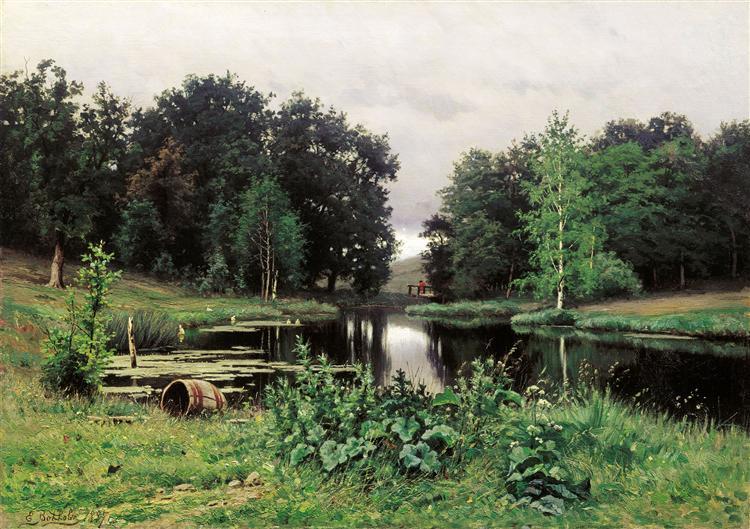 Landscape with a Pond, 1887 - Efim Volkov