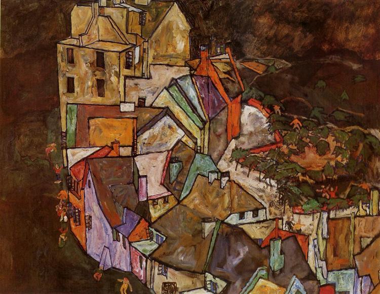 Edge of Town (Krumau Town Crescent), 1918 - Egon Schiele