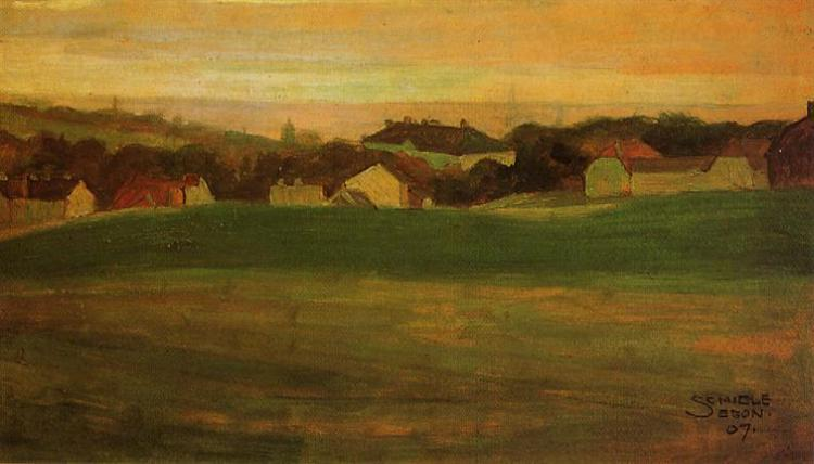 Meadow with Village in Background, 1907 - Egon Schiele