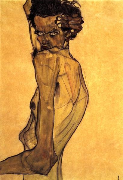 Self Portrait with Arm Twisting above Head, 1910 - Egon Schiele