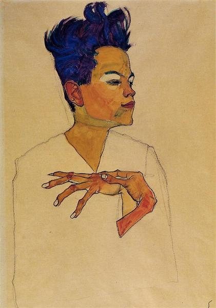 Self Portrait with Hands on Chest, 1910 - Egon Schiele