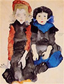 Two Little Girls - Эгон Шиле