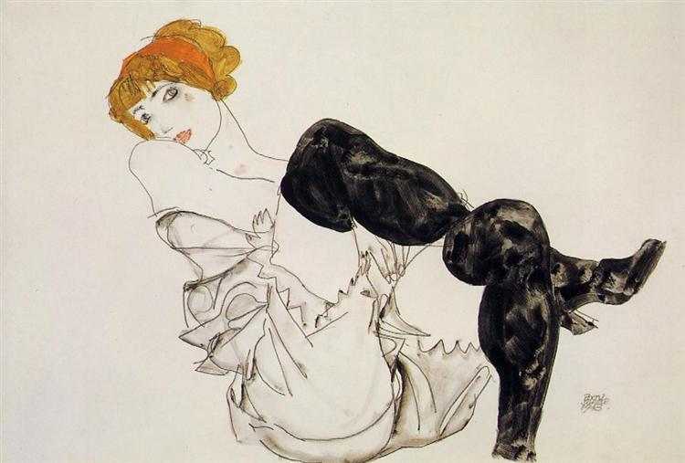 Woman in Black Stockings, 1913 - Egon Schiele